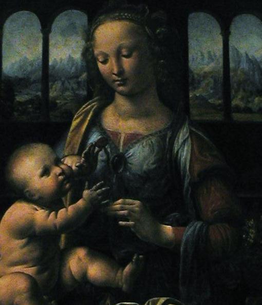 detail, madonna with child, da vinci