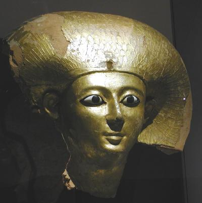 egyptian head from sarcophagus, gold leaf over wood