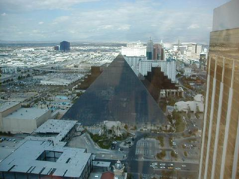 view of the Luxor pyramid from Mandalay Bay