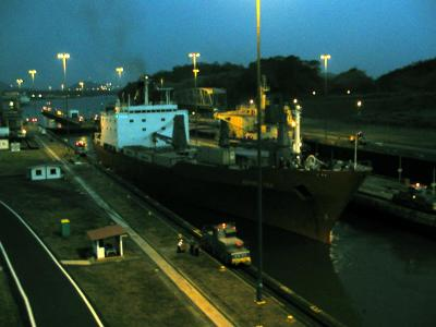 miraflores locks after sunset