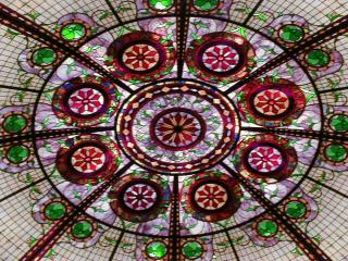 detail of stained glass skylight at Paris casino