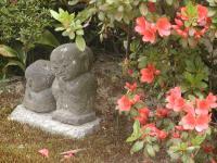 worn stone and azalea
