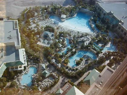 overhead view of the famous Mandalay pool area