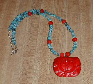 peruvian turquoise and red accents hand-strung necklace