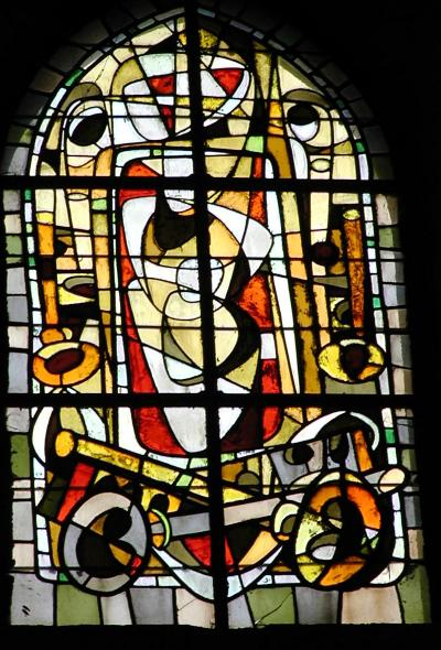 cubist stained glass, st. pierre's, montmartre, paris