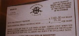room rate card at treasure island -- fiction, science fiction